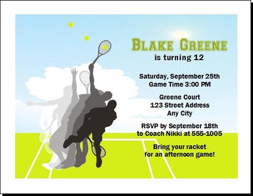 Tennis Pro Birthday Party Invitation