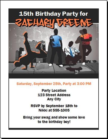 Urban Hip Hop Birthday Party Invitation