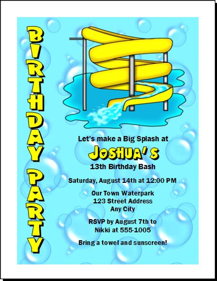 Water Park Birthday Party Invitation Set Of 12