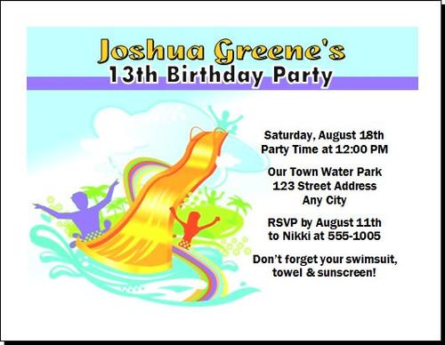 Water Park Design 2 Birthday Party Invitation