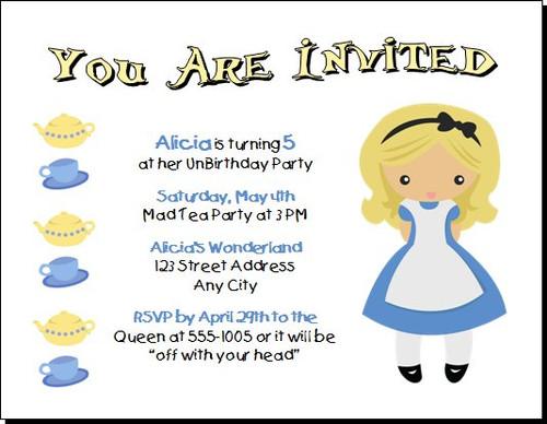 Wonderland Inspired Birthday Party Invitation