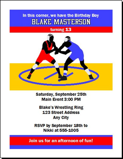 Wrestling Match Birthday Party Invitation Set Of 12