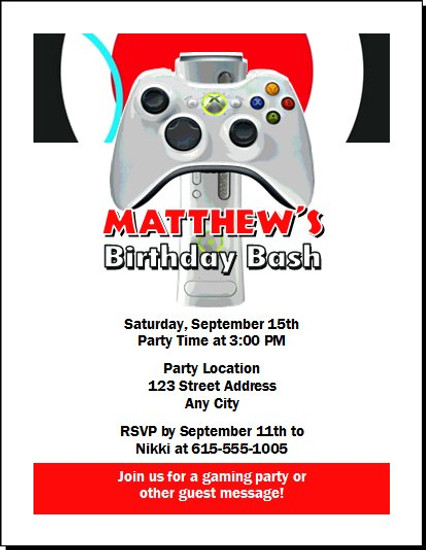 XBox Birthday Party Invitation