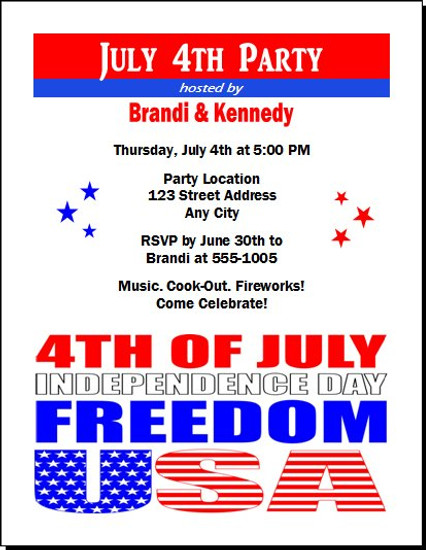red white blue freedom party invitation set of 12