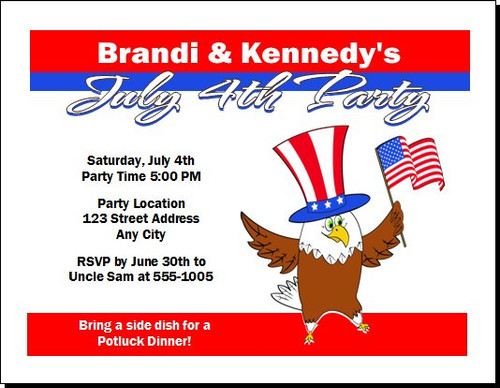 The Patriotic Eagle 4th of July Party Invitation