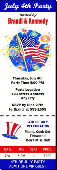 American Flag 4th of July Party Ticket Invitation