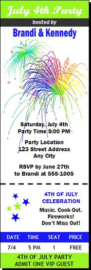 Fireworks 4th of July Party Ticket Invitation