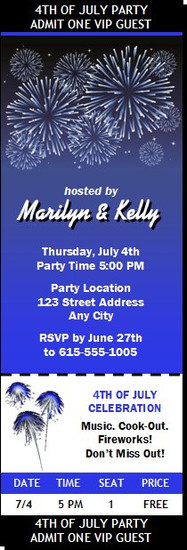 Fireworks Blue 4th of July Party Ticket Invitation