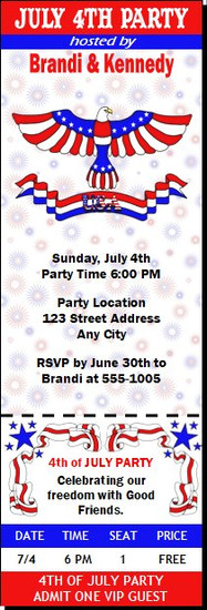 Patriotic 4th of July Party Ticket Invitation