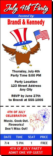 The Patriotic Eagle 4th of July Party Ticket Invitation