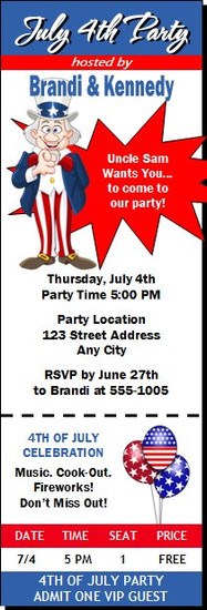 Uncle Sam 4th of July Party Ticket Invitation
