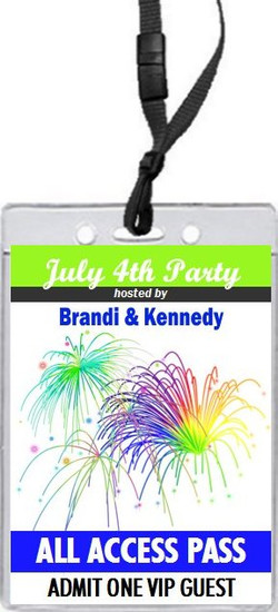 Fireworks 4th of July Party VIP Pass Invitation Front