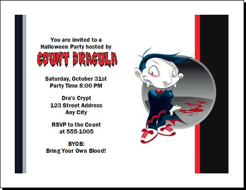 Vampire Cartoon Halloween Party Invitation