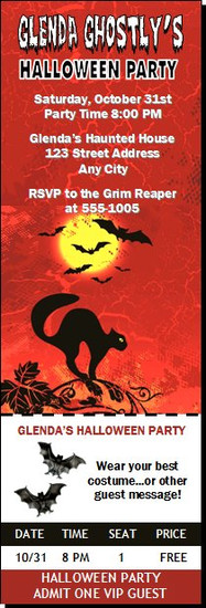 Black Cat Halloween Party Ticket Invitation