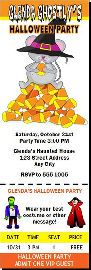 Candy Corn Mouse Halloween Party Ticket Invitation