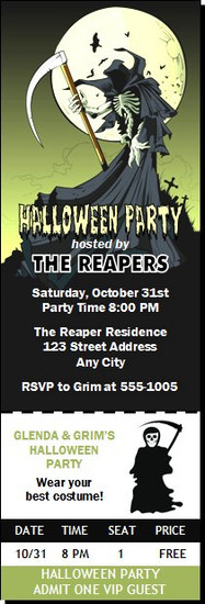Grim Reaper Halloween Party Ticket Invitation