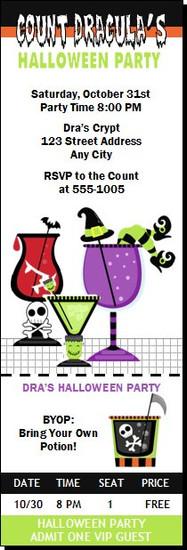 Halloween Cocktail Party Ticket Invitation