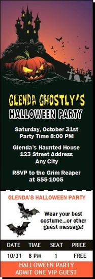 Haunted House Design 2 Halloween Party Ticket Invitation