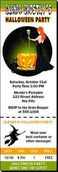 Witch's Brew Halloween Party Ticket Invitation