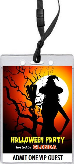 Witch Tree Halloween Party VIP Pass Invitation Front