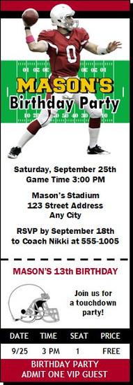 Arizona Cardinals Colored Football Party Ticket Invitation