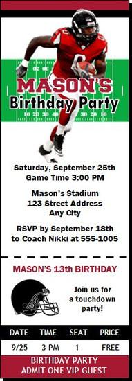 Atlanta Falcons Colored Football Party Ticket Invitation