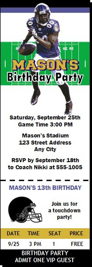Baltimore Ravens Colored Football Party Ticket Invitation