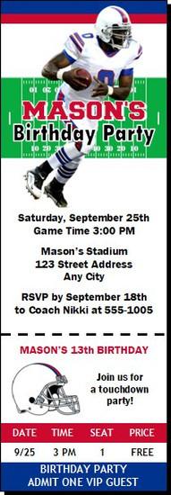 Buffalo Bills Colored Football Party Ticket Invitation