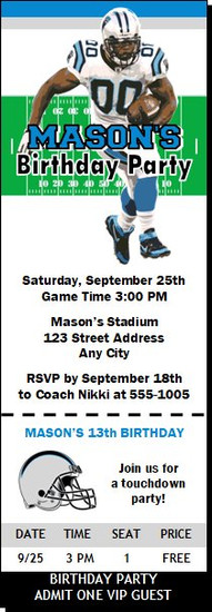 Carolina Panthers Colored Football Party Ticket Invitation