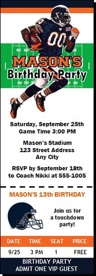 Chicago Bears Colored Football Party Ticket Invitation