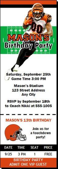 Cincinnati Bengals Colored Football Party Ticket Invitation