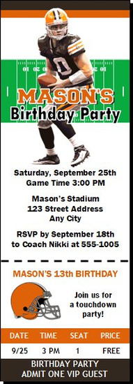 Cleveland Browns Colored Football Party Ticket Invitation