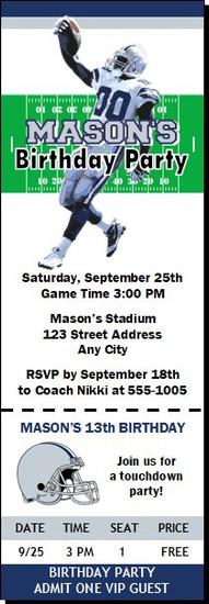 Dallas Cowboys Colored Football Party Ticket Invitation