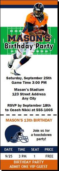 Denver Broncos Colored Football Party Ticket Invitation