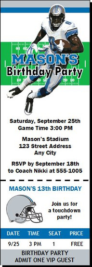Detroit Lions Colored Football Party Ticket Invitation