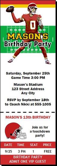 Kansas City Chiefs Colored Football Party Ticket Invitation