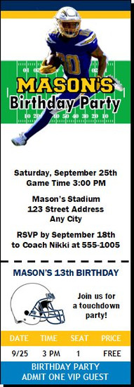 Los Angeles Chargers Colored Football Party Ticket Invitation