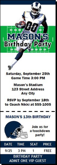 Los Angeles Rams Colored Football Party Ticket Invitation