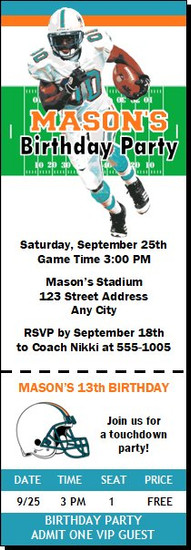 Miami Dolphins Colored Football Party Ticket Invitation