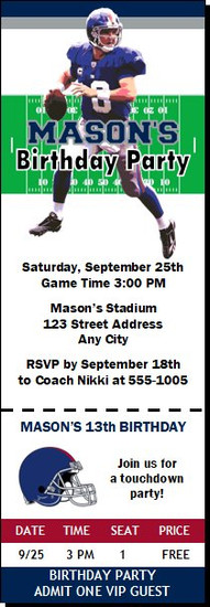 New York Giants Colored Football Party Ticket Invitation