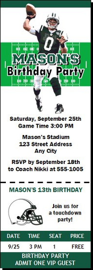 New York Jets Colored Football Party Ticket Invitation, Set of 12