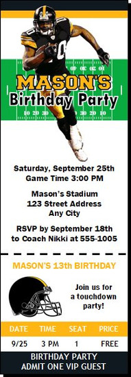 Pittsburgh Steelers Colored Football Party Ticket Invitation