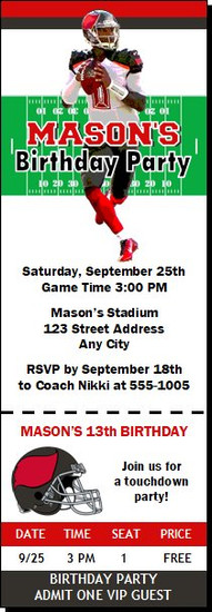 Tampa Bay Buccaneers Colored Football Party Ticket Invitation