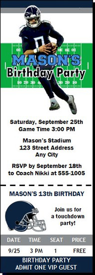 Tennessee Titans Colored Football Party Ticket Invitation