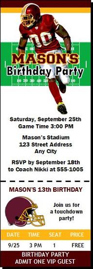 Washington Redskins Colored Football Party Ticket Invitation