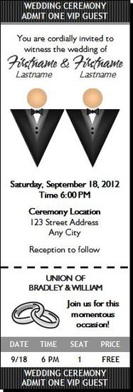 Black Tux Gay Wedding Ticket Invitation Light Light