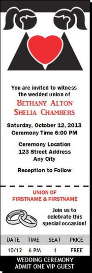 Bride & Bride Lesbian Wedding Ticket Invitation