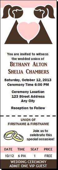 Chocolate Bride & Bride Lesbian Wedding Ticket Invitation