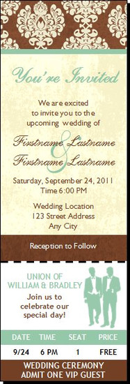 Chocolate Damask Gay Wedding Ticket Invitation