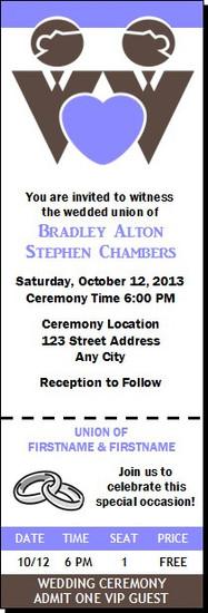 Chocolate Groom & Groom Gay Wedding Ticket Invitation